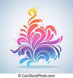illustration., colorito, schizzo, astratto, elemento, vettore, disegno