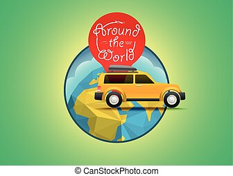 illustration., concept., vacanza, vettore, mondo viaggiante, viaggiare, intorno