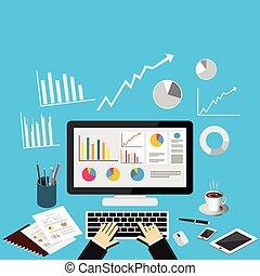 illustration., concetto, affari, analytics
