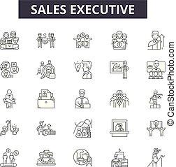 illustration:, contorno, concetto, vector., esecutivo, affari, direttore, segni, persona, esecutivo, linea, icone, uomo affari, successo, vendite, set, persone, uomo, vendite