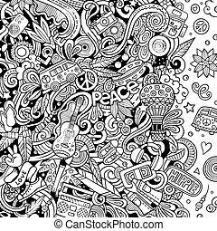 illustration., design., doodles, vettore, disegnato, hippy, scheda, cornice, mano, hippie
