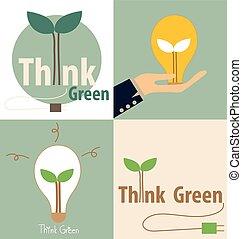 illustration., eco, luce, concept., albero, interno., vettore, verde, bulbo, pensare