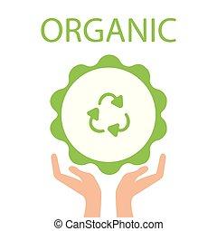 illustration., eco, simbolo., mano, vettore, verde, presa a terra, riciclare, terra