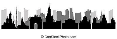 illustration., edifici., panorama, città, silhouettes., urbano, vettore, famoso, mosca
