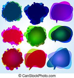 illustration., eps, bubbles., discorso, 8, originale
