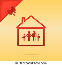 illustration., famiglia, cristmas, segno, fondo., disegno, oro, rosso, icona