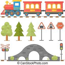 illustration., ferrovia, castaldo, disegno, passeggero, stazione, icone, set, trenino, appartamento, concetto, ferrovia
