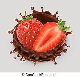 illustration., fragola, cioccolato, realistico, vettore, splash., 3d, icona