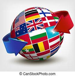 illustration., globo, arrow., vettore, bandiere, mondo
