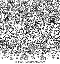 illustration., hippie, cornice, design., vettore, mano scheda, disegnato, hippy, doodles