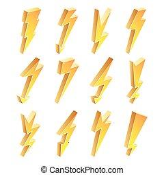 illustration., icone, segno., isolato, giallo, lampo, vettore, elettrico, cartone animato, set., simbolo., 3d