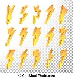 illustration., icone, set., lampo, isolato, giallo, lampo, pictograms., vettore, bullone, cartone animato, 3d