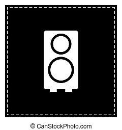 illustration., isol, pezza, fondo., altoparlante, nero, bianco, segno