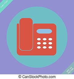 illustration., -, isolato, telefono, vettore, icona