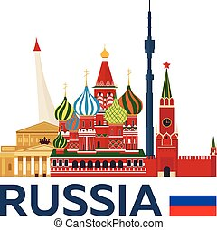 illustration., kremlin., viaggiare, vettore, skyline., russia, mosca