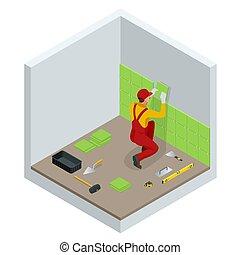 illustration., lavoratore, ceramica, vettore, pareti, installare, tegole, piccolo, trowel., bagno, home., mortaio, applicare, isometrico, posa