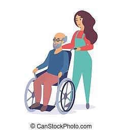 illustration., lavoratore, vettore, passeggiare, vecchio, carrozzella, cartone animato, uomo senior, donna, sociale, giovane