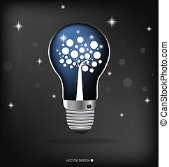 illustration., luce, albero, interno., vettore, bulbo