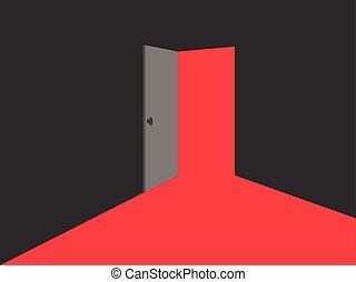 illustration., luce, door., luci, vettore, aperto, rosso