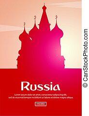 illustration., manifesto, viaggiare, vettore, silhouettes., russia., limiti
