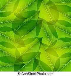 illustration., modello, leaves., seamless, vettore, verde