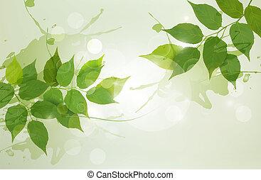 illustration., natura, primavera, leaves., vettore, sfondo verde