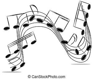 illustration., note, vettore, white., fondo, personale musicale