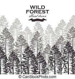 illustration., paesaggio, vettore, fondo., albero, foresta pino, selvatico, nature.