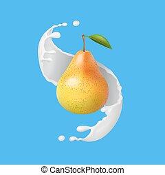 illustration., pera, frutta, latte, realistico, vettore, splash., yogurt, o, icona