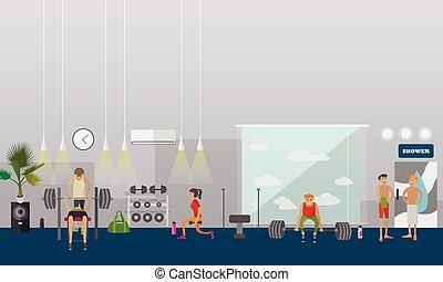 illustration., persone, palestra, lavoro, centro, banners., vettore, idoneità, interno, orizzontale, fuori
