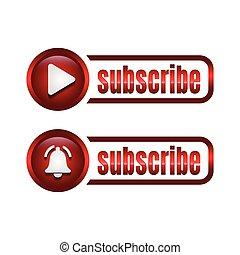 illustration., pictogram., affari, vettore, bottone, icon., concetto, abbonarsi