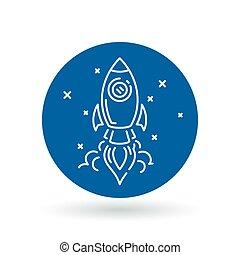 illustration., razzo, spazio, segno., volare, mestiere, simbolo., lancio, vettore, icon., astronave