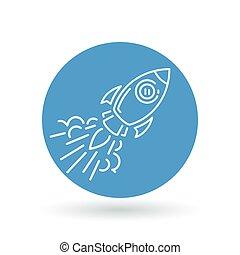 illustration., razzo, spazio, segno., volare, simbolo., vettore, concettuale, icon., astronave