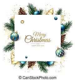 illustration., realistico, bandiera, felice, nuovo, oro, vacanza, anno, albero, palla, bianco, 3d, christmass, natale, oggetti, vettore, disegno, dorato, natale, allegro, brillare, coriandoli, fiocco di neve