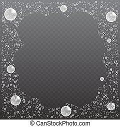 illustration., realistico, sapone, fondo., vettore, bolle, trasparente