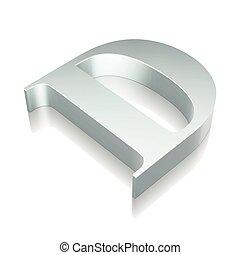 illustration., riflessione, carattere, metallico, vettore, 3d, d