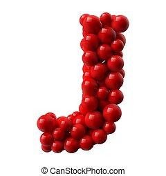 illustration., rosso, j, colorato, vettore, realistico, baluginante, balls., lettera