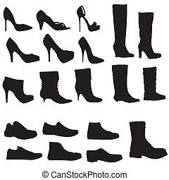 illustration), scarpe, (vector, isolato, collezione, silhouette, fondo, bianco
