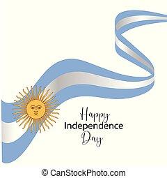 illustration., scheda, -vector, augurio, vettore, argentina, felice, giorno, indipendenza, bandiera