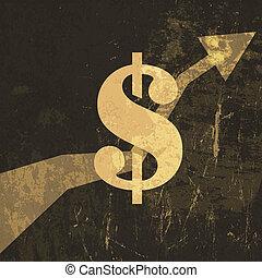 illustration., segno, dollaro, su, vettore, retro, crescere, guadagni