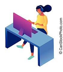 illustration., servizio, femmina, rappresentante, isometrico, cliente, 3d