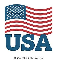 illustration., simbolo, fondo., segno, america, nazionale, sviluppo, bianco, patriottico, paese, stati uniti, stato, usa., bandiera, america.