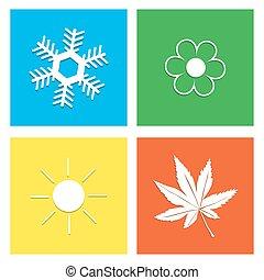 illustration., simbolo, quattro, vettore, tempo, stagioni, icona
