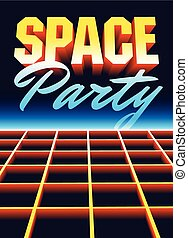 illustration., spazio, vendemmia, discoteca, vettore, retro, manifesto, festa, design.