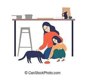 illustration., spendere, appartamento, cucina, bambino, preoccupare, insegnamento, white., presa, tempo, felice, vettore, donna, figlia, carino, animale domestico alimenta, godere, madre, circa, genitore, gatto, maternità, isolato, capretto, cura