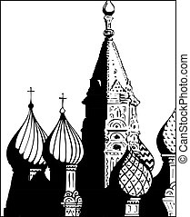 illustration., st., moscow., s, vettore, basilico, cattedrale