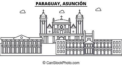 illustration., strokes., editable, asuncion, silhouette, disegno, landmarks., paraguay, urbano, linea, costruzioni, vettore, orizzonte, appartamento, paesaggio, concetto, contorno, architettura