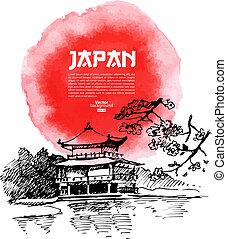 illustration., sushi, acquarello, schizzo, mano, disegnato, giapponese