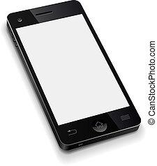 illustration., telefono, mobile, schermo, realistico, vettore, sagoma, vuoto, bianco, 3d