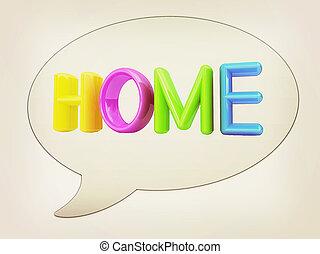 """illustration., testo, """"home"""", finestra, messaggero, vendemmia, icon., 3d, style., ?olorful"""